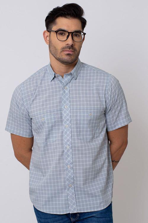 Camisa Casual Masculina Tradicional Microfibra Cinza 015 08027