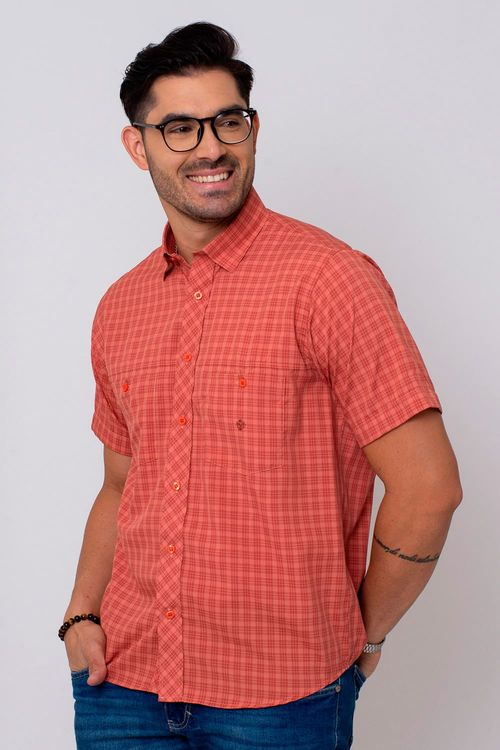 Camisa Casual Masculina Tradicional Microfibra Salmão 040 08027