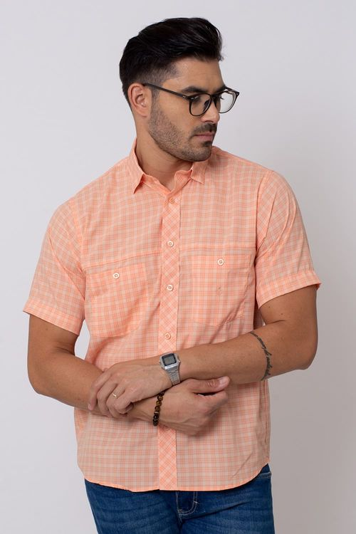 Camisa Casual Masculina Tradicional Microfibra Salmão 042 08027