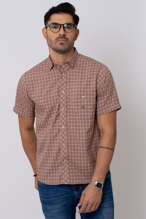 Camisa Casual Masculina Tradicional Microfibra Marrom 043 08027