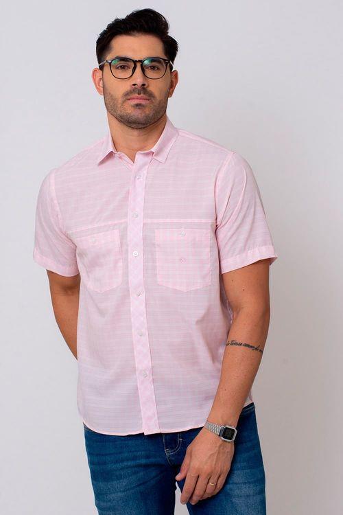 Camisa Casual Masculina Tradicional Microfibra Rosa 102 08027