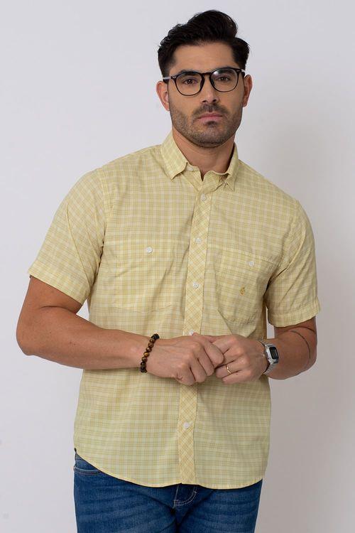 Camisa Casual Masculina Tradicional Microfibra Creme 166 08027