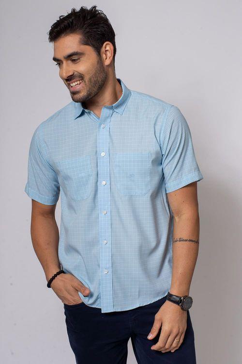 Camisa Casual Masculina Tradicional Microfibra Azul Claro 067 08032