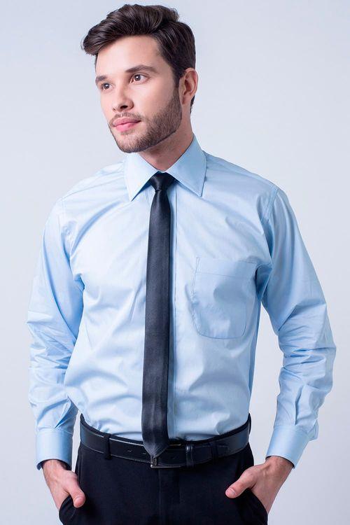 Camisa Social Masculina Tradicional Algodão Fio 50 Azul Claro 008 07725