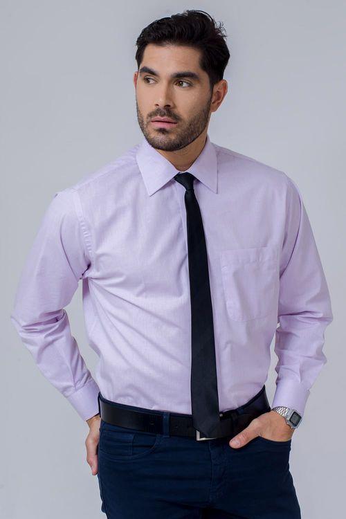 Camisa Social Masculina Tradicional Algodão Fio 40 Lilás 053 02225