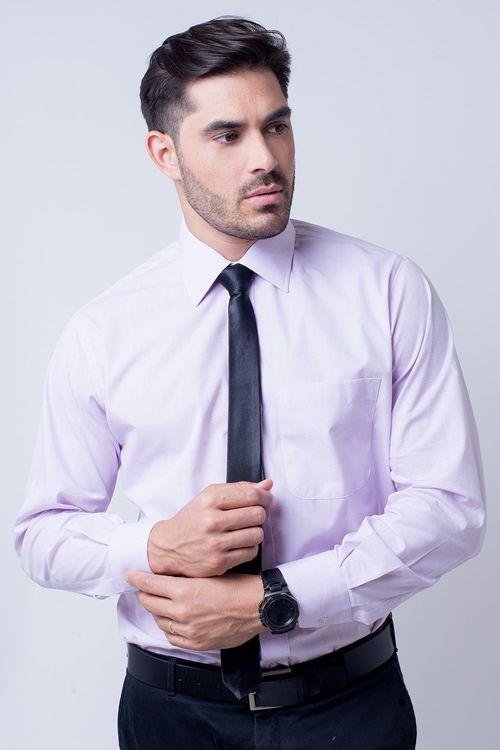 Camisa Social Masculina Tradicional Algodão Misto Lilás 087 02595