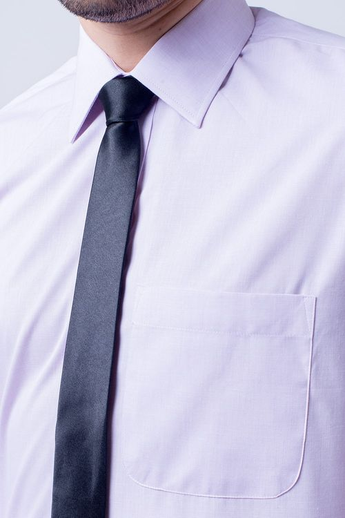 Camisa Social Masculina Tradicional Algodão Misto Lilás 184 02595