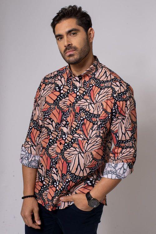 Camisa Casual Masculina Tradicional Algodão Fio 40 Bege 167 08336
