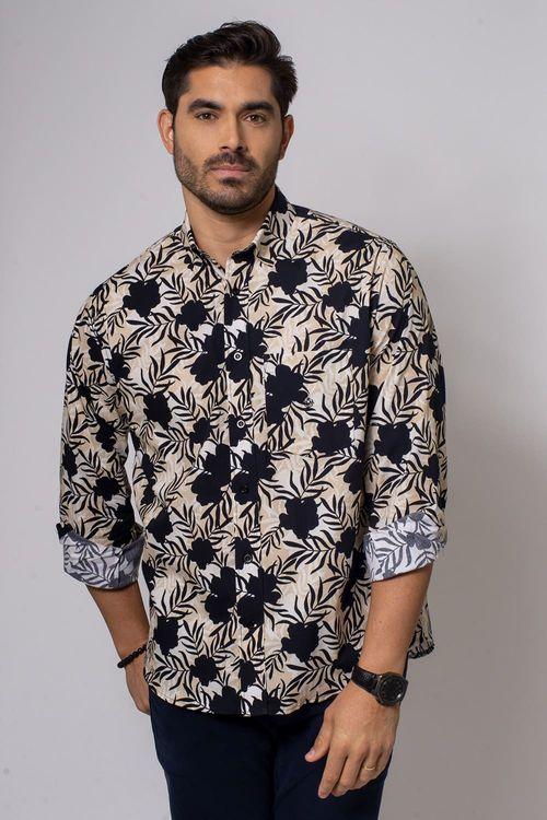 Camisa Casual Masculina Tradicional Algodão Fio 40 Preto 180 08336
