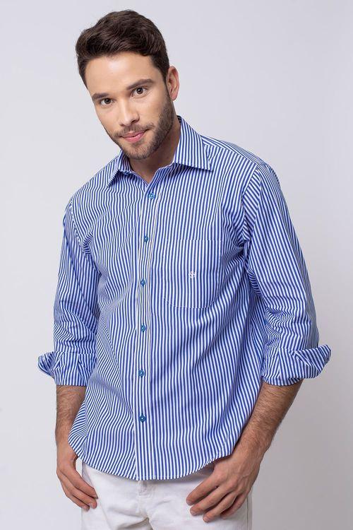 Camisa Casual Masculina Tradicional Algodão Fio 80 Azul Escuro 013 06977