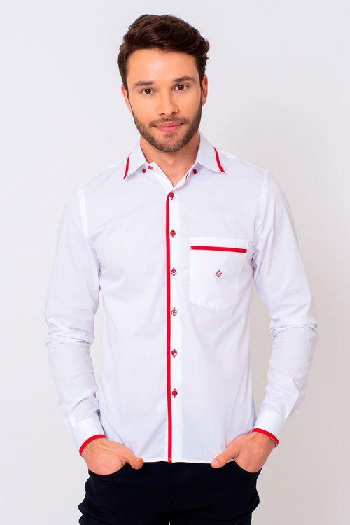 Camisa Slim Masculina Slim Algodão Fio 50 Branco 005 06258