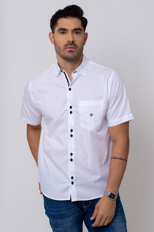 Camisa Casual Masculina Tradicional Algodão Fio 50 Branco 194 05182
