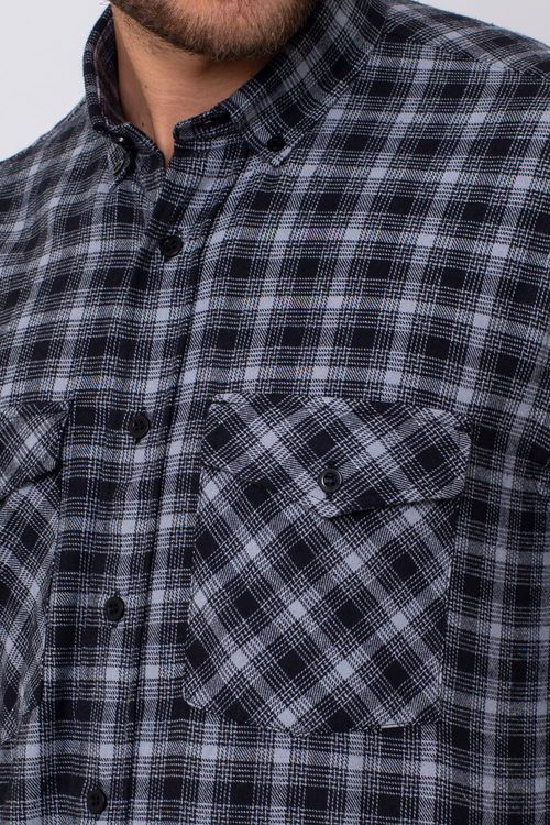 Camisa Casual Masculina Tradicional Flanela Preto 002 08380
