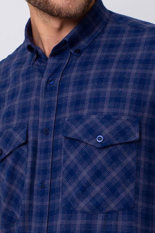 Camisa Casual Masculina Tradicional Flanela Azul 052 08380