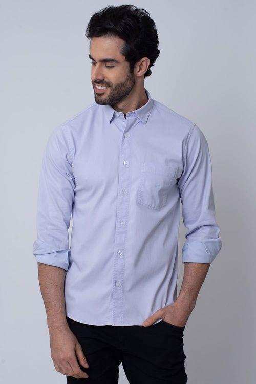 Camisa Casual Masculina Tradicional Tencel Lilás 036 08352