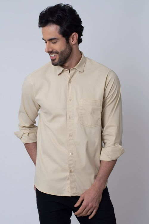 Camisa Casual Masculina Tradicional Tencel Bege 033 08352