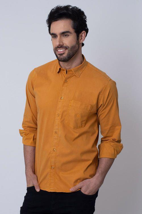 Camisa Casual Masculina Tradicional Tencel Mostarda 014 08352