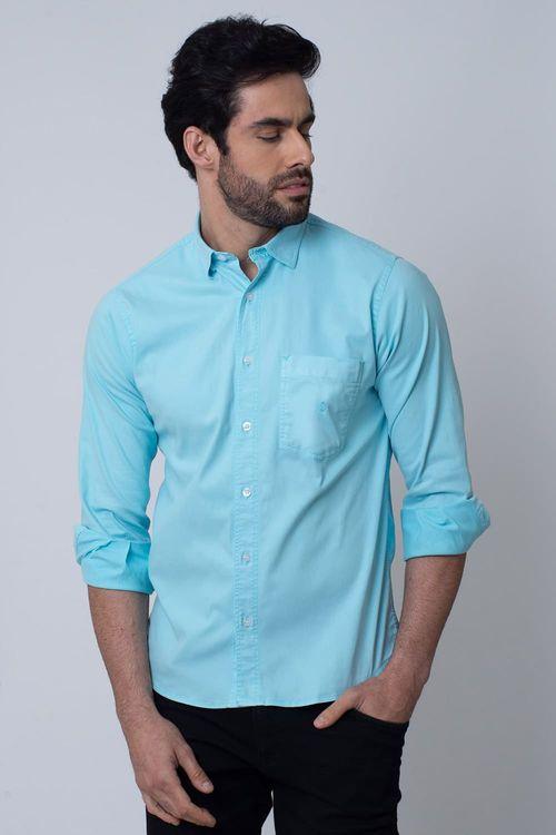 Camisa Casual Masculina Tradicional Tencel Azul Claro 008 08352