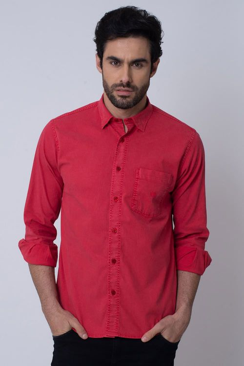 Camisa Casual Masculina Tradicional Tencel Vermelho 003 08352