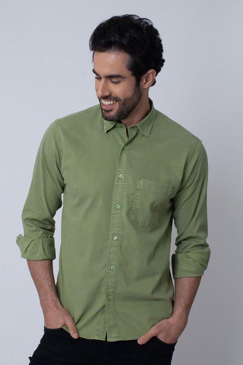 Camisa Casual Masculina Tradicional Tencel Verde 061 08352