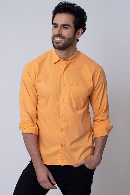 Camisa Casual Masculina Tradicional Tencel Laranja 032 08352