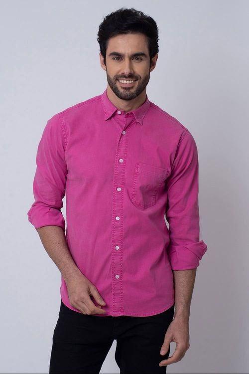 Camisa Casual Masculina Tradicional Tencel Rosa 075 08352