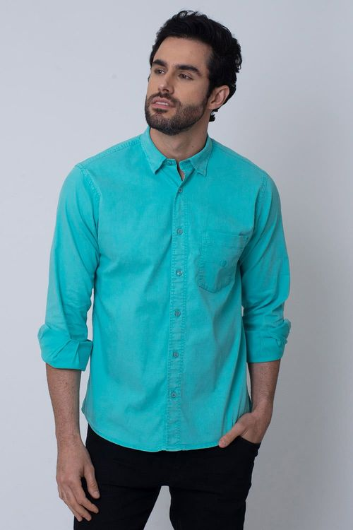 Camisa Casual Masculina Tradicional Tencel Verde Claro 004 08352