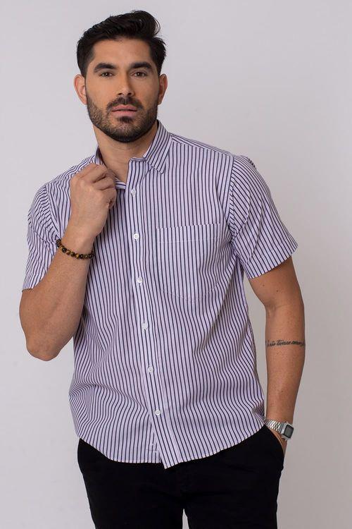 Camisa Casual Masculina Tradicional Algodão Fio 50 Branco 196 04339