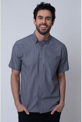 Camisa Casual Masculina Tradicional Algodão Fio 50 Preto 240 04339