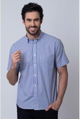 Camisa Casual Masculina Tradicional Algodão Fio 50 Azul 335 04339