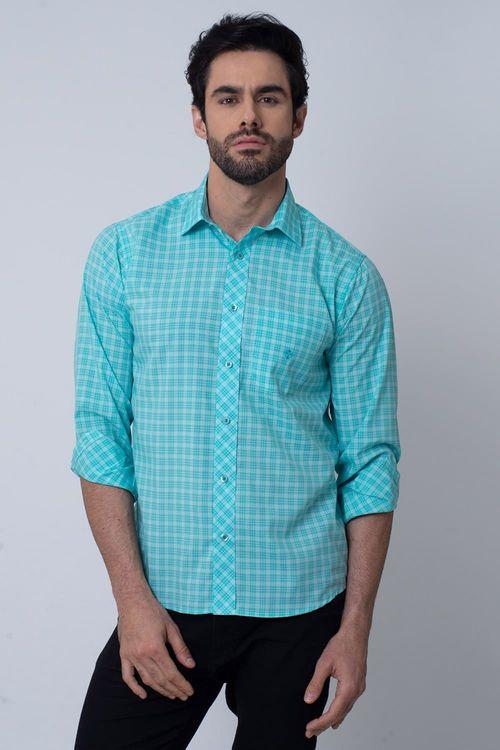 Camisa Casual Masculina Tradicional Microfibra Verde Claro 026 08026