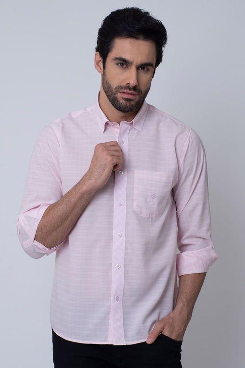 Camisa Casual Masculina Tradicional Microfibra Rosa 102 08026