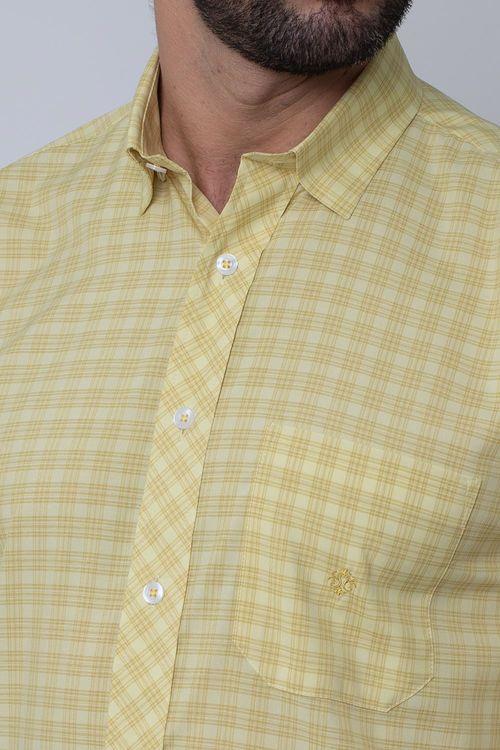 Camisa Casual Masculina Tradicional Microfibra Creme 166 08026