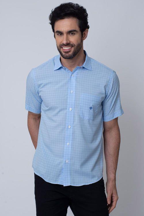 Camisa Casual Masculina Tradicional Microfibra Azul Médio 007 08031