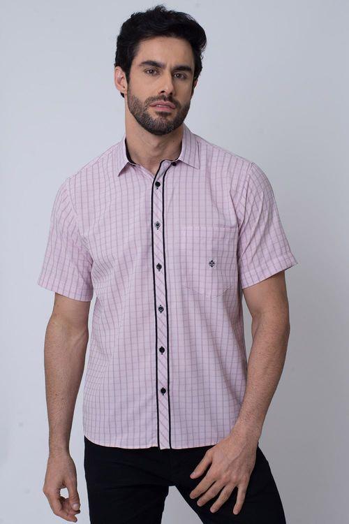 Camisa Casual Masculina Tradicional Microfibra Rosa 011 08034