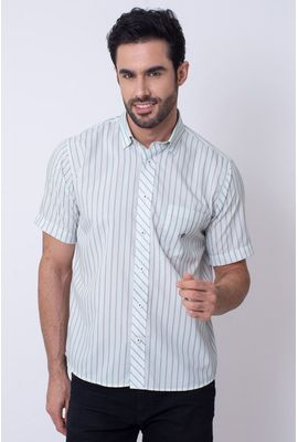 Camisa Casual Masculina Tradicional Microfibra Verde 061 08023