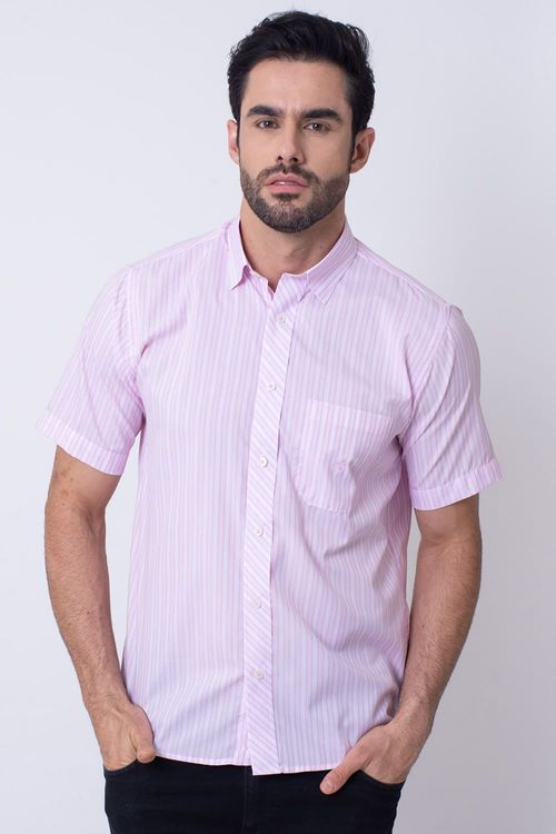 Camisa Casual Masculina Tradicional Microfibra Rosa 011 08024