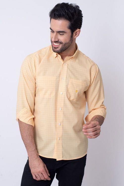 Camisa Casual Masculina Tradicional Microfibra Laranja 019 08030