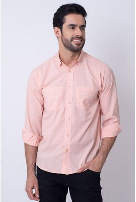 Camisa Casual Masculina Tradicional Microfibra Salmão 042 08030