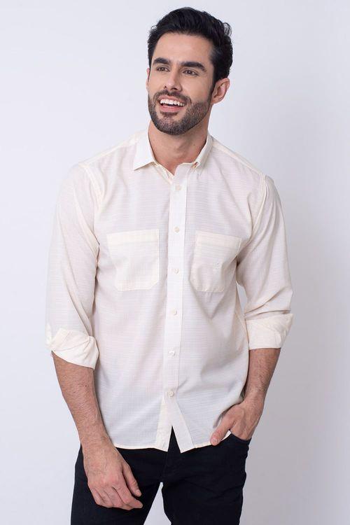 Camisa Casual Masculina Tradicional Microfibra Creme 060 08030