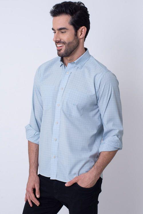 Camisa Casual Masculina Tradicional Microfibra Cinza 074 08030