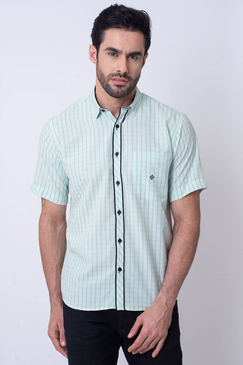 Camisa-Casual-Masculina-Tradicional-Microfibra-Verde-Claro-08034-01