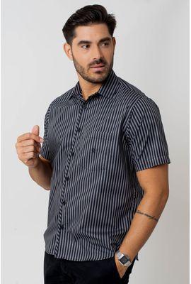 Camisa casual masculina tradicional algodão fio 50 preto f01269a
