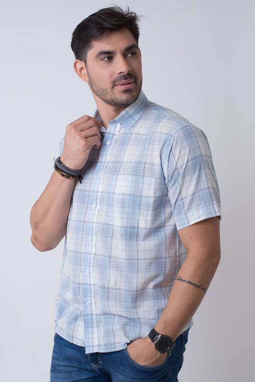 Camisa Casual Masculina Tradicional Algodão Fio 40 Azul Claro 008 07347