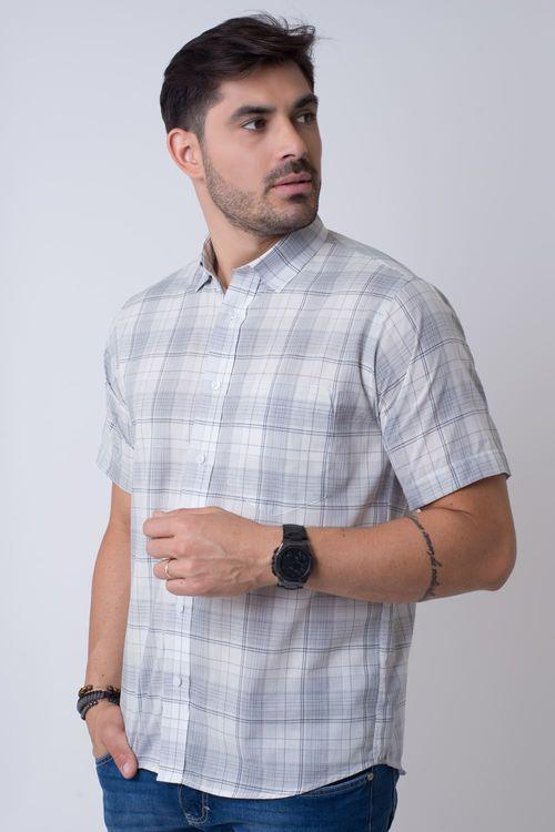 Camisa Casual Masculina Tradicional Algodão Fio 40 Cinza 039 07347