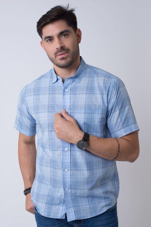 Camisa Casual Masculina Tradicional Algodão Fio 40 Azul Claro 067 07347