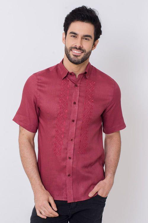 Camisa Casual Masculina Slim Puro Linho Salmão 040 03200