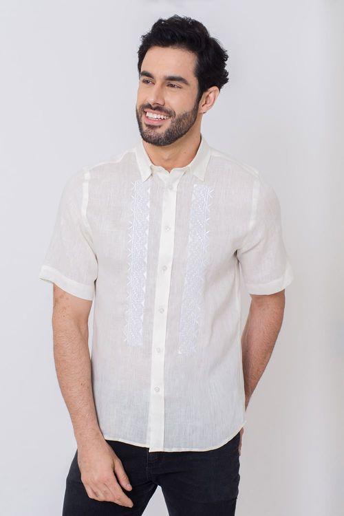 Camisa Casual Masculina Slim Puro Linho Creme 165 03200