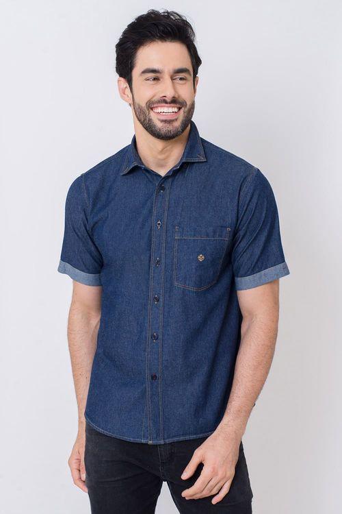 Camisa Casual Masculina Tradicional Jeans Azul Escuro 351 05648