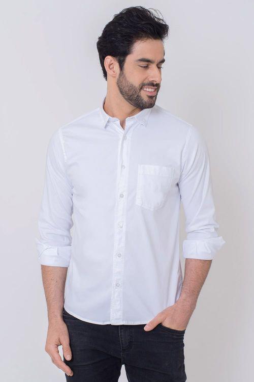 Camisa Casual Masculina Tradicional Tencel Branco 005 08352